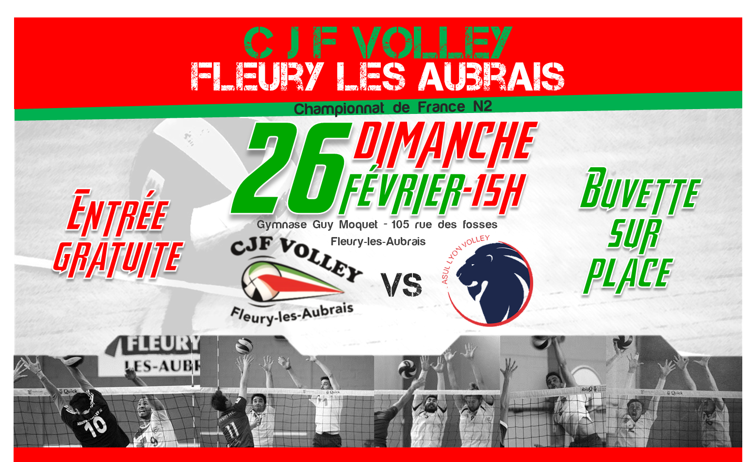 Prochain Match à Domicile :<br>CJF VOLLEY VS ASUL LYON VOLLEY BALL